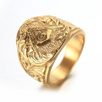 Gold And Silver Mens Embossed Stamped Freemason Masonic Ring 316L Stainless Steel Ring New Men's Jewelry