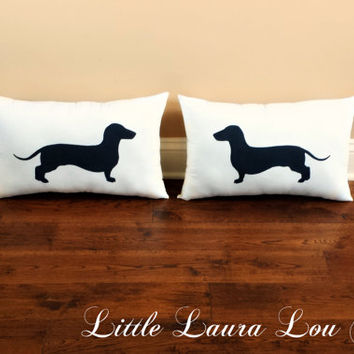Dachshund Throw Pillow Set (set of 2), Decorative Pillows, Home Decor, Housewarming Gift, Pets, Dog Pillow, Couch Pillows **FREE SHIPPING**