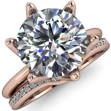 Mary Round Moissanite Interlaced 6 Prong High Shoulder Imperial Solitaire Engagement Ring