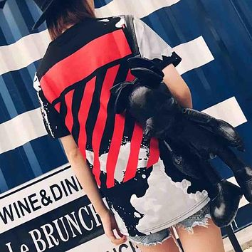 Off-White Women Fashion Print Tunic Shirt Top Blouse