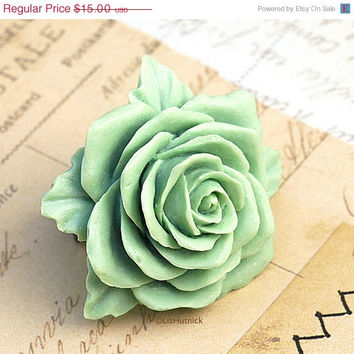 50% OFF SALE Mint Rose Ring. Heritage Rose Ring. Mint Dreams Vintage Style Jewelry