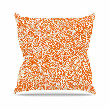 "Julia Grifol ""Garden Flowers"" Orange Floral Throw Pillow"