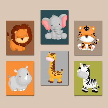 JUNGLE Safari Animal Wall Art, Jungle Safari Animal Nursery Decor, Safari Playroom, Zoo Animals, Baby Boy Nursery Canvas or Prints, Set of 6