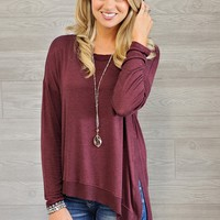 * Libby L/S Lightweight Sweater : Wine