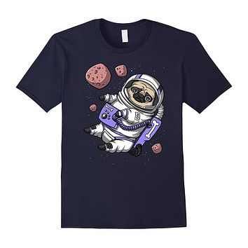 Pug Dog Astronaut Pet Funny Space Galaxy Travel T-Shirt