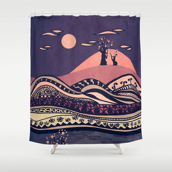 Psychedelic mountains (colour option) Shower Curtain by Viviana González