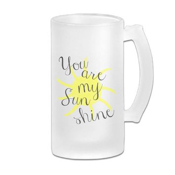 HTVDOY Beer Glass Frosted Glass You Are My Sunshine Beer Mugs Great For Coffee,Wine,Beer,Juice,Whiskey Or Any Cold Drinks