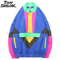 Harajuku Hip Hop Windbreaker Jacket Vintage Color Block Jacket Streetwear Mens Casual Track Jacket Coat HipHop Autumn 2018