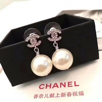 Chanel Women Pearl Fashion Logo Stud Earring Jewelry