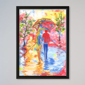 Couple Under Umbrella Watercolor Wall Art Decor Fine Art Giclee Print Gift Poster Under One Umbrella Walking On The Road In The Rain