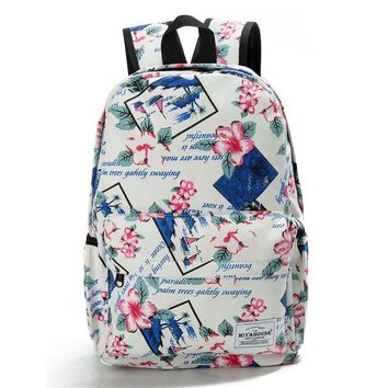 Women Backpacks Floral Print Bookbags Canvas Backpack School Bag For Girls Rucksack
