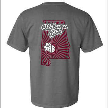 Alabama Girl Monogram Shirt - Gray and crimson