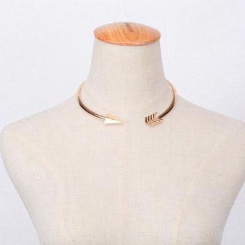 'CUPID' Bent Arrow Choker Necklace
