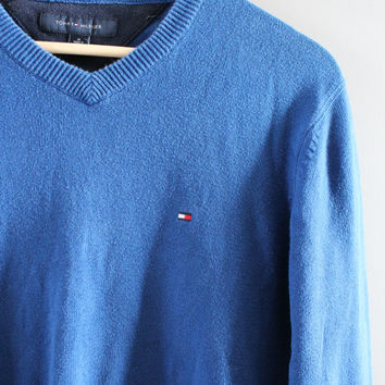 Tommy Hilfiger Sweater Blue Cotton Sweater Blue Pullover Slouchy Sweater V-neck Unisex Knit Minimalist Vintage 90s Size M - L