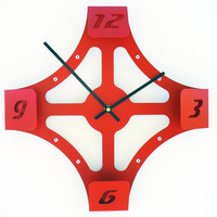 Folding Over V Modern Wall Clock (Red) Custom Colors Available