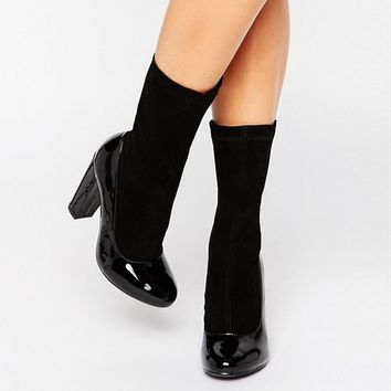 Daisy Street Black Patent Sock Heeled Ankle Boots at asos.com