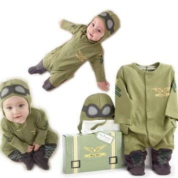 Hot 2017 Newest The pilot clothing Novelty Cosplay Costume Baby Christmas Halloween Clothing Sets Space suit Cartoon Costume