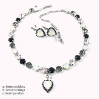 Black and White Swarovski crystal jewelry set,  necklace, heart pendant and earrings, select your pieces- CHIC