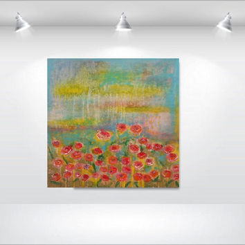 "sun's rain on the roses's garden - Original acrylic painting - minimalist- expressionist - large canvas gallery - 24""x24"""