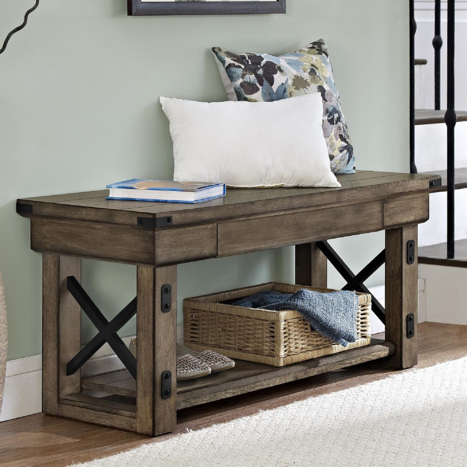 Entryway Storage Bench Rustic Hallway From Cindictc On Ebay