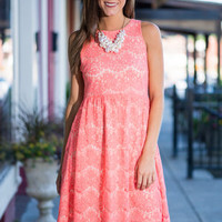 Sweet Serenade Dress, Coral