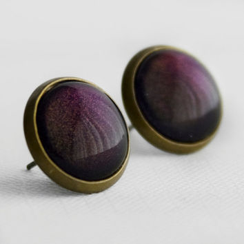 Deep Plum Post Earrings in Antique Bronze - Dark Purple Stud Earrings