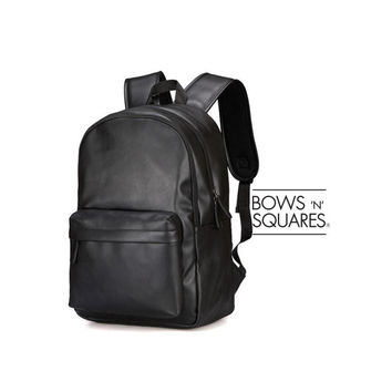 Dapper Style Classic Black Backpack - PU LEATHER Backpack - Minimalist Black Haversack - Mens Backpack - Vegan Backpack - Campus Haversack