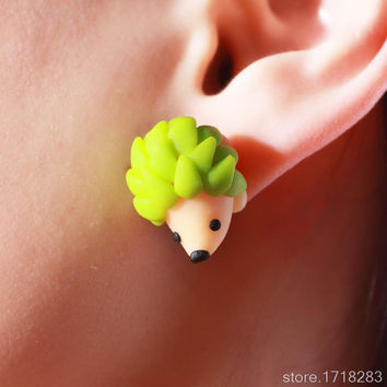 Kittenup New Fashion Jewelry Color Green Yellow Handmade Polymer Cute Hedgehog Stud Earrings For Women 0523
