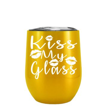 Kiss My Glass on Translucent Green 12 oz Stemless Wine Tumbler