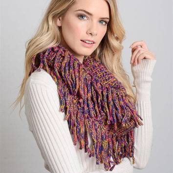Marbled Tassel Infinity Scarf-Purple/Yellow