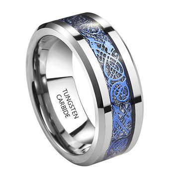 8mm Tungsten Carbide Ring Sky Blue Plated Celtic Dragon Wedding Band (Platinum)