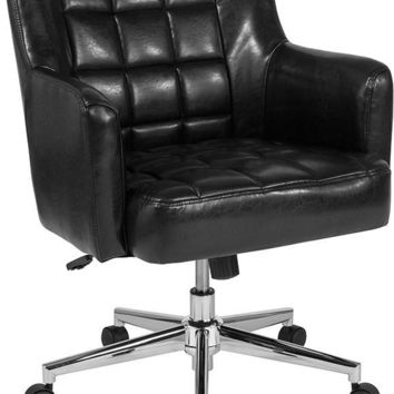 Laone Home and Office Upholstered Mid-Back Chair in Black Leather [BT-1176-BLK-GG]