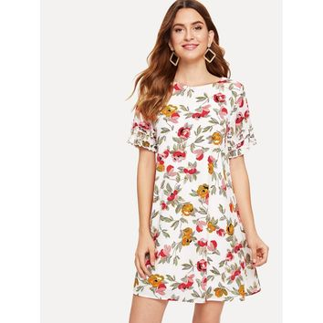 Multicolor Floral Print Frill Trim Cuff Dress