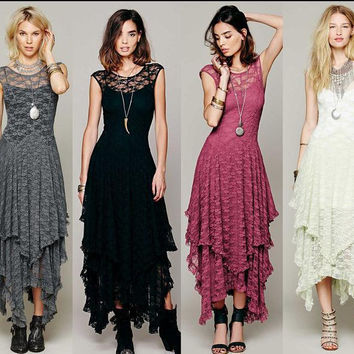 Irregular King Size Hot Sale Hollow Out Lace One Piece Dress [4918234244]