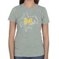 McNeese State Cowboys Ladies Distressed Logo Vintage Slim Fit T-Shirt - Ash