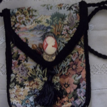 Vintage Crossbody Purse Tapestry Handmade  Shoulder Bag