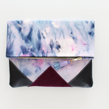 SUNSET 87 / Shibori dyed cotton & Natural leather folded clutch bag - Ready to Ship