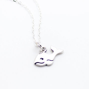 Happy whale sterling silver necklace
