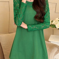 Green Sheer Lace Panel Long Sleeve Dress-Tops