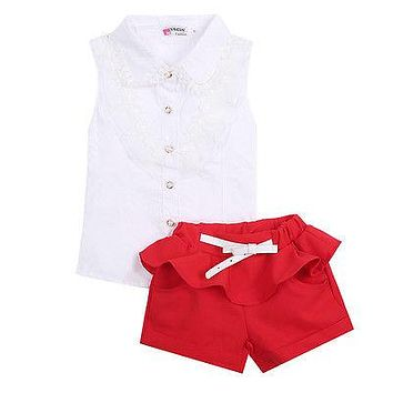 Kids girl clothes set Fashion Children's Clothing Kids Sets Sleeveless lace Shirts + Red Shorts 2pcs Baby Suits
