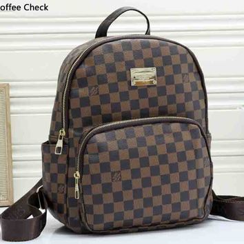 LV tide brand men and women retro wild casual backpack Coffee Check