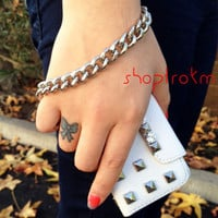Heavy metal chain with strong trigger hook in silver color- wristlet wrist strap cell phone wallet strap