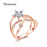 NEWBARK Delicate Flower Finger Ring Rose And White Gold Plated Paved Tiny Zirconia CZ Jewelry For Valentine's Day Gifts