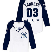 New York Yankees Split-Neck Baseball Tee - PINK - Victoria's Secret