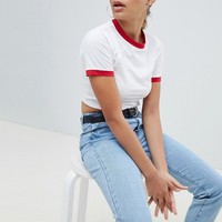 Missguided Contrast Edge Cropped T-Shirt at asos.com