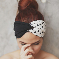 Black polka dot, Turban Twist Headband - black and white polka dot print