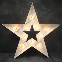 24 inch Rustic Reclaimed Wood Star Marquee