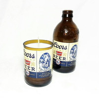 Beer Bottle Soy Candle/Coors Beer Bottle Candle/Fraser Fir Scent/Recycled Beer Bottle