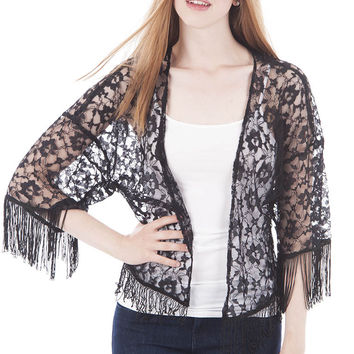 Sheer Floral Lace Kimono with Tassels