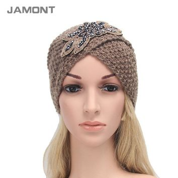 [NEW] Women's Knitted Beanie Headband Crochet Headwrap Jewel Flower Winter Warm Turban Hair Accessories Q3328